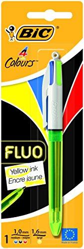 BIC 4 colores Fluo bolígrafos Retráctiles – Tinta Negra, Azul, Rojo y Amarillo Fluorescente, Blíster de 1 Unidad