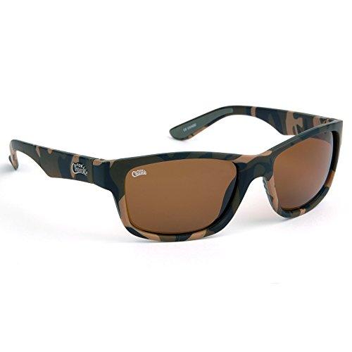 Fox Chunk Sunglasses - Polarisationsbrille zum Angeln, Angelbrille, Sonnenbrille zum Karpfenangeln, Polbrille zum Spinnfischen, Modell:Camouflage Rahmen/braune Gläser