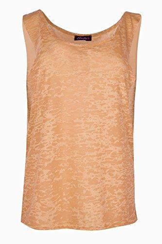 Oops Outlet Damen Grafik BurnOut Tief Seite Ausschnitt Dehnbar ärmellos Weste-Tank-T-Shirt Top Plus Größe Orange