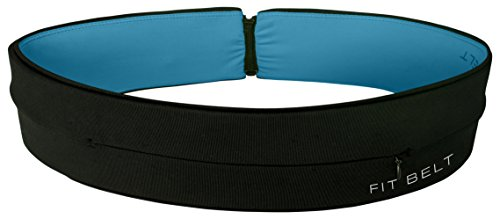 FIT BELT - ZIPPER - Fitness - Gym - Running belt - Travel - Waist pack - Suitable for all mobile phones also includes key/ring chain. (Black/Blue - Zipper, X-Large 35