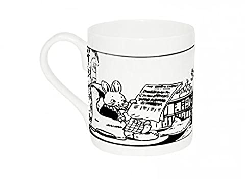 Mug with Rabbits reads the news