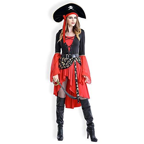Your little world Halloween-Kostüm Piratenkönigin, perfekt für Halloween, Junggesellinnenabschied, Kostümpartys, Geburtstage, Themenveranstaltungen und mehr Gr. XX-Large, Pirate - Pirate Queen Für Erwachsene Kostüm