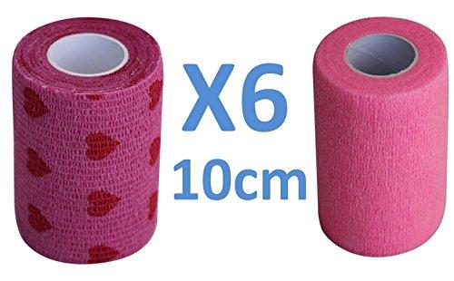 Flexible Selbstklebende Bandagen (Cohesive Bandage 3 ROSA FARBE + 3 HERZEN = 6 Rollen x 10 cm x 4,5 m flexible selbstklebende Bandage, Professionelle Qualität, Erste Hilfe, Sportverletzungen, einzeln verpackte Rollen - Packung mit 6)