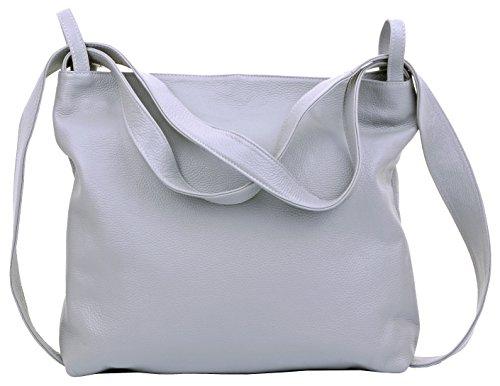 Primo Sacchi® Ladies Italian hell grau texturiertes Leder Griff Tasche Umhängetasche Rucksack Rucksac. Incudes Branded Protective Storage Bag -