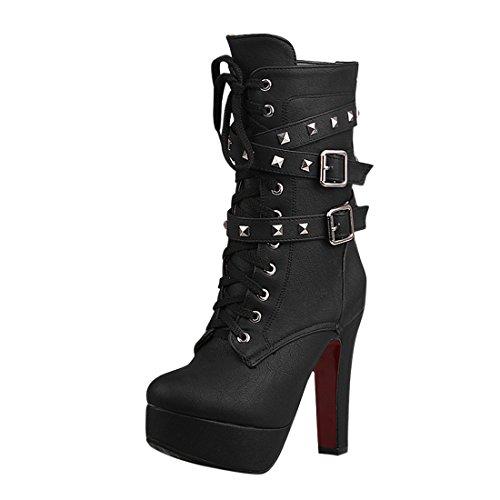 YE Damen Blockabsatz High Heels Plateau Halbschaft Stiefel mi Schnürung und Nieten Schnallen und Reißverschluss 12cm Absatz warm gefüttert Boots Schwarz