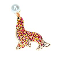 Aodump 1Pcs Sea Lion Brooch Crystal Animal Brooch Jewelry for Woman Garment Brooches Accessories