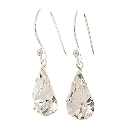 pewterhooter 925 Sterling Silver drop earrings expertly made with teardrop Diamond White crystal from SWAROVSKI London Box