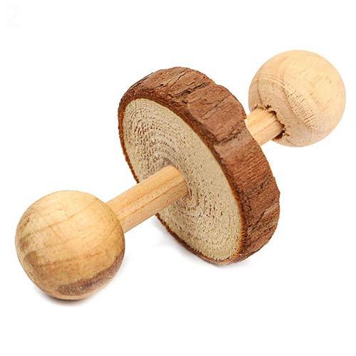 SunYueY manubri in legno naturale monociclo roller Dumbbell Chew Toy/esercizio giocattoli per conigli cavie criceto Chinchilla 2#