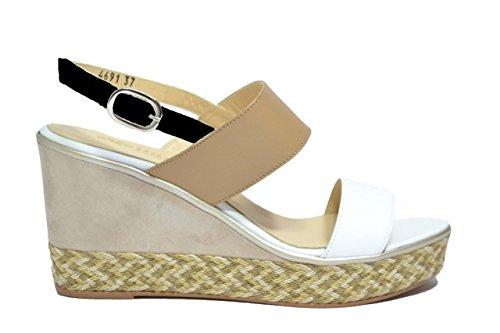 Melluso Positano R7904, Sandalo da Donna con Zeppa Bianco