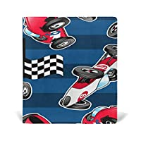 TIZORAX Racing Cars with Blue Stripes Stretchable Book Covers Fits Most Hardcover Textbooks up to 9 x 11. Adhesive-Free, PU Leather School Book Protector. Easy to Put On Jacket