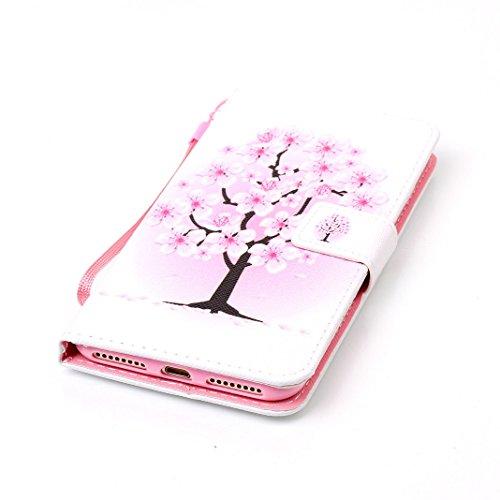 OuDu Impressum Muster Hülle für iPhone 7 PLUS PU Leder Handyhülle Klapp Buch-Stil Ledertasche Schale Einzigartige Entwurf Tasche Kompletter Schutzhülle Flip Wallet Case Silicone Inner Cover Book Style Rosa Pfirsich