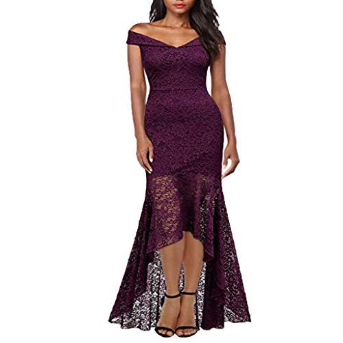 Damen Kleider Vintage Schulterfrei Princess Kleid Blumen Spitzen Cocktailkleid Bodycon Abendkleider Swing-Kleid Asymmetrisches Hem Ballkleid Partykleid