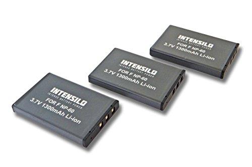 Intensilo 3x li-ion batteria 1300mah (3.7v) per videocamera camcorder toshiba camileo hd, h10, h20, pro, p10, p30 hd pro, s10 pro come np-60, db40.