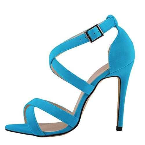 Oasap Damen Elegant Knöchelriemen Pfennigsabsätzen Sandalen Light Blue