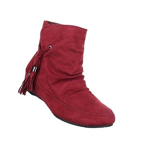 Damen Boots Stiefeletten Schuhe Mit Reißverschluss Schwarz Grau Blau Rot 36 37 38 39 40 41 Weinrot