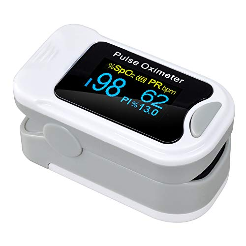 CQ Pulsoximeter Fingeroximeter OLED Farbdisplay Tragbar Alarmfunktion Pulsmessgerät,Gray