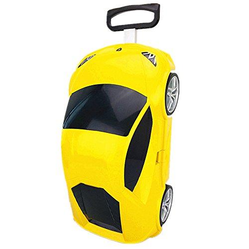 """Sumferkyh 18"""" Trolley Case verschleißfesten Rad Cartoon Auto für Männer und Frauen Gepäck Boarding Koffer (Farbe : Gelb)"""
