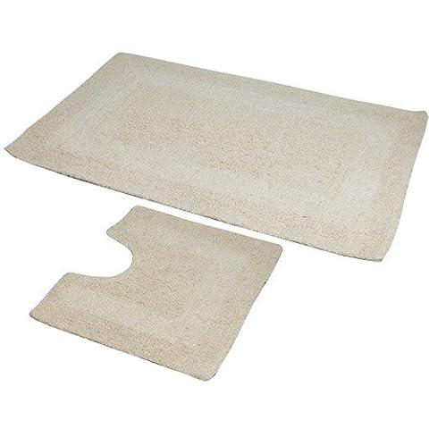 2 Piece 100% Cotton Large Luxury Bath Mat & Pedestal mat Set - Cream