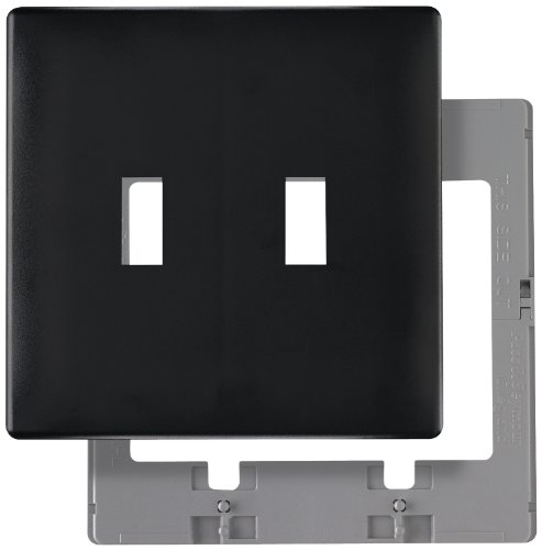 Legrand-Pass & Seymour SWP2BKCC10, Toggle Screwless Wall Plate with Plastic Sub-plate, 2-gang, Black by Legrand-Pass & Seymour (Wall Plate Sub)