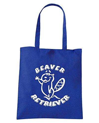 T-Shirtshock - Borsa Shopping FUN0731 beaver retriever decal 75724 Blu Royal