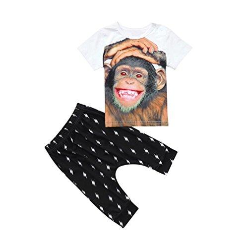 Hirolan 2 Stück Freizeitanzug Kleinkind Babykleidung Jungen Affe T-Shirt Oberteile+Hosen Outfits Kleider Tops + Jogging Hosen Outfits Spielanzug Trainingsanzug (70, Schwarz) (Affen Outfits Für Kleinkinder)