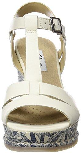 Clarks 261232264, Sandali con Zeppa Donna Bianco (White Leather)
