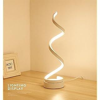 ELINKUME Spiral LED Tischleuchte, Gebogene LED Lampe, Modernes Minimalistischen Design, 12W Warmweiß Licht, Creative Acryl LED Modellierung Lampe Perfekt für Schlafzimmer Wohnzimmer (Weiß)