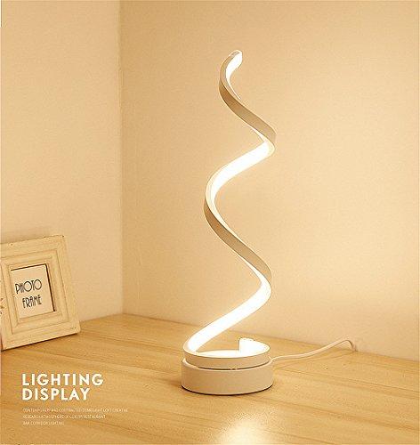 Moderne Streifen-tisch-lampe (ELINKUME Spiral LED Tischleuchte, Gebogene LED Lampe, Modernes Minimalistischen Design, 12W Warmweiß Licht, Creative Acryl LED Modellierung Lampe Perfekt für Schlafzimmer Wohnzimmer (Weiß))