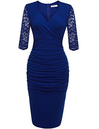 ANGVNS Damen Abendkleid V-Ausschnitt Kleid Spitzen 3/4 Arm Wickelkleid Etuikleid Cocktailkleid Blau