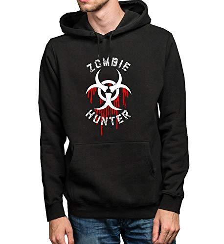 GlamourLab Zombie Hunter Bloody Single Logo_R1656 Hoodie Kapuzenpullover Jumper Sweater Pullover Sweatshirt Unisex Black Gift- L Black Hoodie -