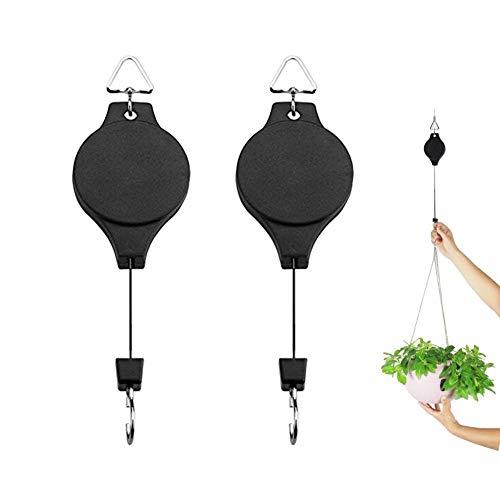 Roll-Blumenampel, 2-teilig, Blumenkorb-Haken für Gartentöpfe und Vögel-Futterspender - Kunststoff-utensil Display