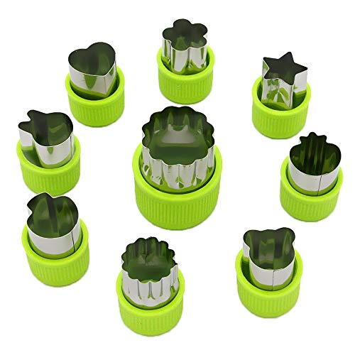 Homvan Gemüseschneider Formen Set, 9 Stück Mini-Kuchen, Obst und Cookie-Stempeln Schimmel für Kekse Obst Dekoration Kinder Backen Bastelbedarf (grün)