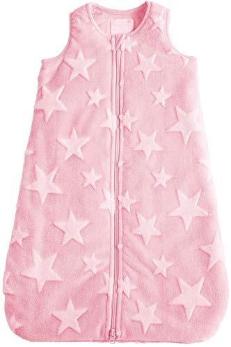 POCOPIANO® Baby WinterSchlafsack/Schlafsack aus weichem Plüsch/Innenfutter aus 100% Baumwolle (rosa - Sterne Muster, 70 cm - ca. 0-6 Monate)