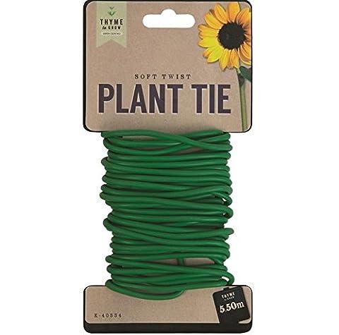 5.5m Jardin épais doux support pour plantes Twist Tie Fil revêtu de fil durable et réutilisable.