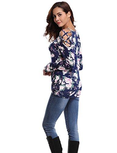 Abollria Damen Langarm Shirt Bluse Blumen Print Oberteile mit Knoten-Details und Kreuz-Schulter Blumen Print