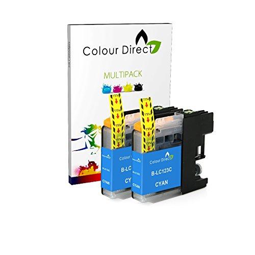 Preisvergleich Produktbild 2 Cyan Colour Direct LC123 kompatibel Chipped Tintenpatronen für Brother DCP-J132W DCP-J152W DCP-J552DW MFC-J650DW DCP-J752DW DCP-J4110DW MFC-J870DW MFC-J4410DW MFC-J4510DW MFC-J4610DW