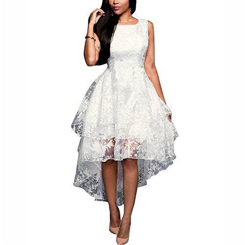 iShine Vestido Verano Blanco de Flores Sin Mangas Dobladillo Irregular Vestidos de Coctel Vestido Fiesta