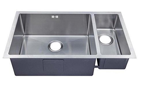 1.5 Hecho a mano de cocina fregadero. Acero inoxidable cepillado para fregadero. Montaje bajo encimera (DS033 L)