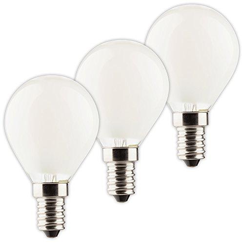 MÜLLER-LICHT 3er-Set Retro-LED Tropfenform Ersetzt 40 W, Glas, E14, 4 W, Silber, 4.5 x 4.5 x 8 cm, 3 Einheiten -