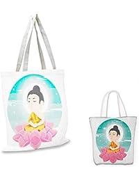 Bolsa de la compra con diseño de estatua asiática en la escena del atardecer mágico de