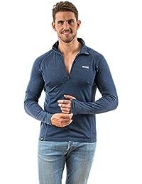 EDZ 200g Merino Wool Mens Zip Neck Top Denim Blue