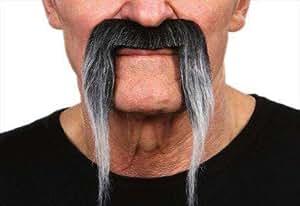 Moustache type fer à cheval poivre et sel postiche moustache poivre et sel à la catcheur [26422ipoivre]