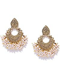 Zaveri Pearls Gold Tone Traditional Pearls Beaded Dangle Earring For Women-ZPFK7295