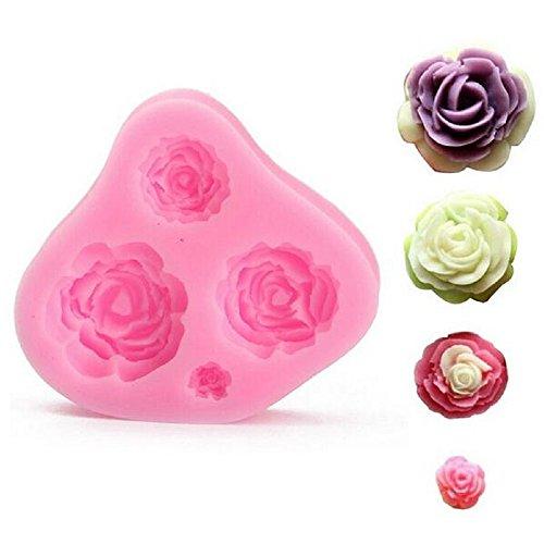 STAMPO IN SILICONE PER USO ALIMENTARE CON CALCO DI 4 ROSE - Roses Statua