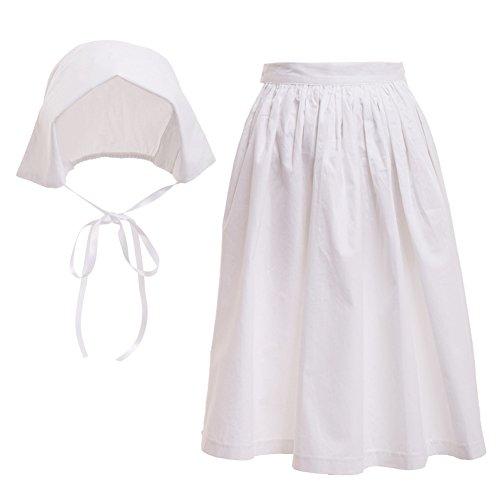 GRACEART 100% Baumwolle Pilger Mädchen Kinder Kolonial Puritan Kostüm Kleid (Motorhaube und Schürze, US-14) (Kolonial Dame Mädchen Kostüm)