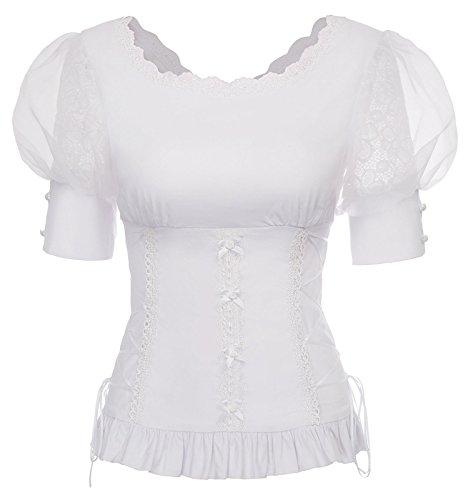 Belle Poque Renaissance Korsett Stil 1/2 Ärmel Damen Rüschen Tops Weiß Größe M -