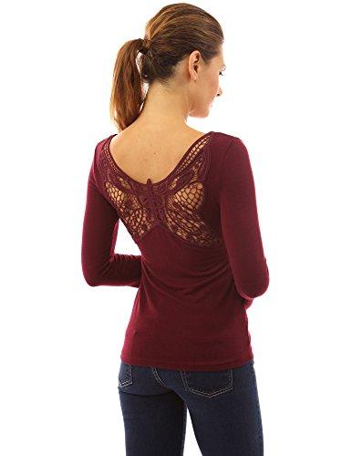 PattyBoutik femmes top en tricot manche cloche dentelle papillon au dos Bordeaux