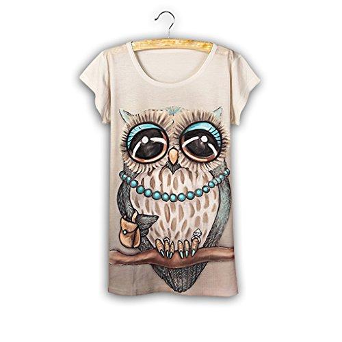 QHGstore Moda Vintage Vintage T shirt Mujer Ropa Tops Algodón Animal Imprimir Camiseta NO.1