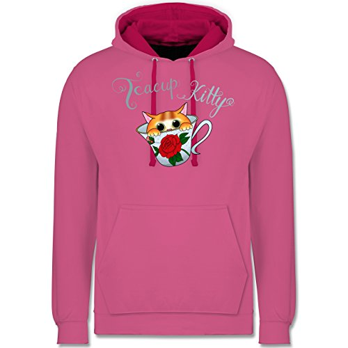 Shirtracer Katzen - Teacup Kitty - XL - Rosa/Fuchsia - JH003 - Kontrast Hoodie Rosa Teacup