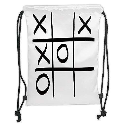 nted Drawstring Sack Backpacks Bags,Xo Decor,Tic Tac Toe Pattern Unfinished Game Hobby Theme Alphabet Minimalist Artful Image,Black White Soft Satinr ()